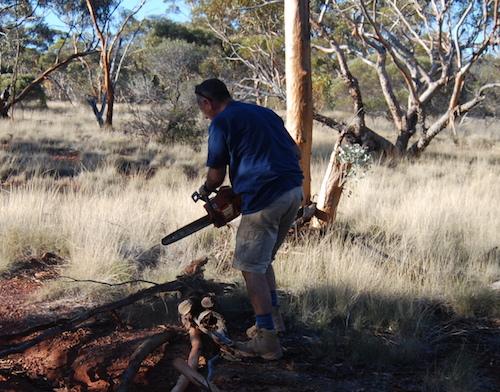 Joe clearing track.