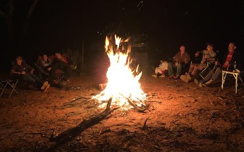Around the campfire Saturday night.