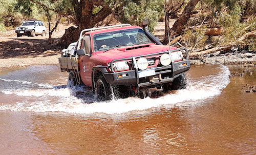 Aaron takes his Nissan Ute through the Oakover Crossing.