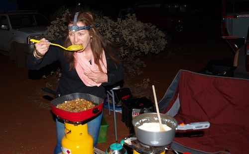 Carrie cooking.