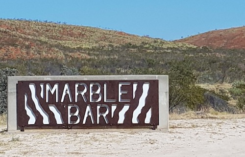 Marble Bar sign.