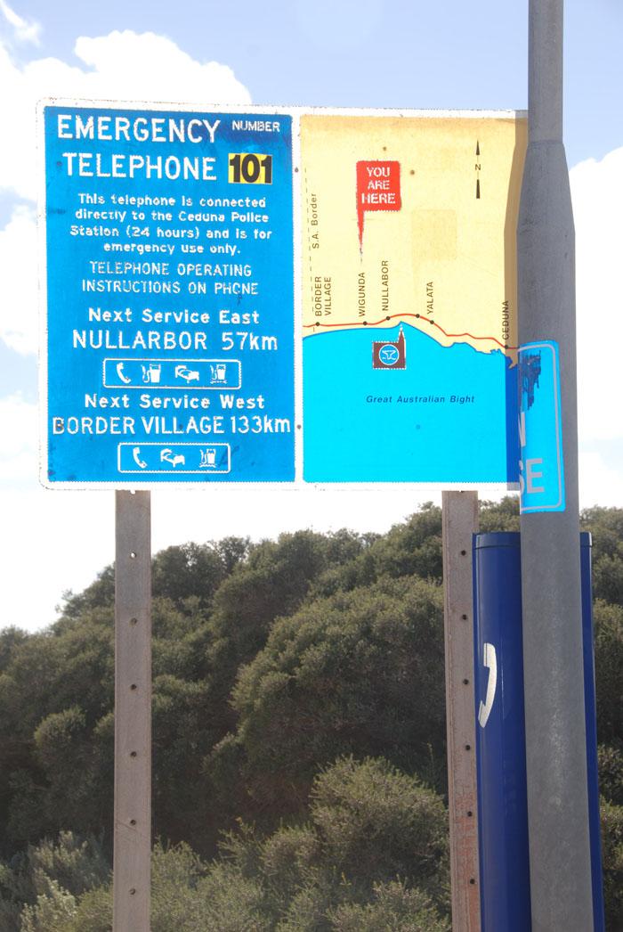 Emergency phone at Wigunda on Eyre Highway.