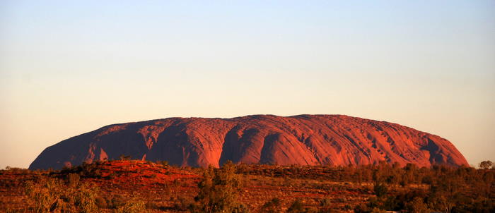 Uluru at sunset.