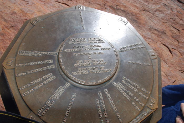 Marker at the top of Uluru.
