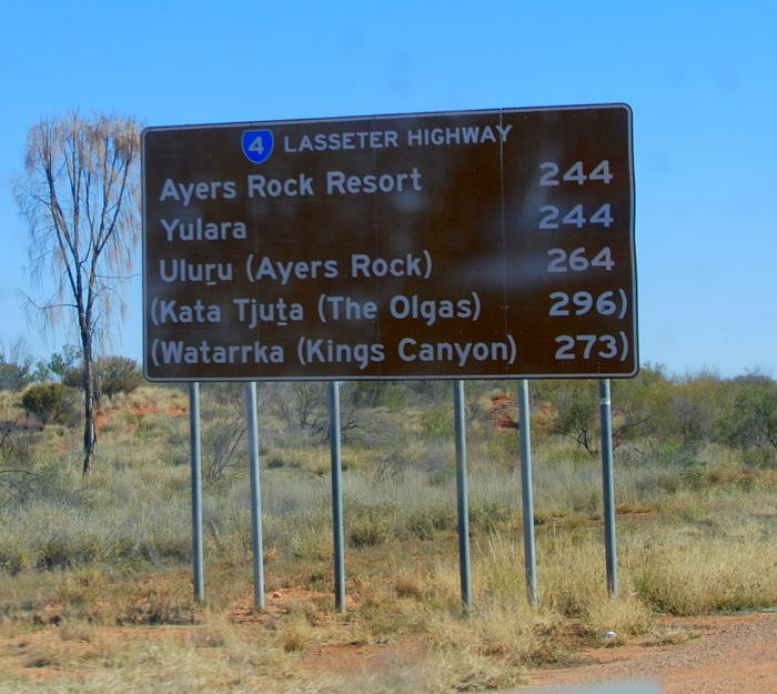 The Lasseter Highway connects Erldunda and Yulara.