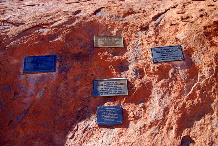 Plaques commemorating those who died on the rock.