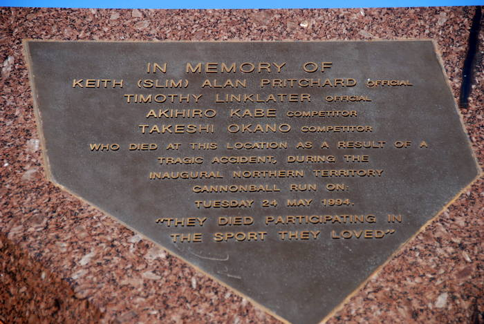 Plaque commemorating the deaths of four participants in the ill fated Cannonball Run.