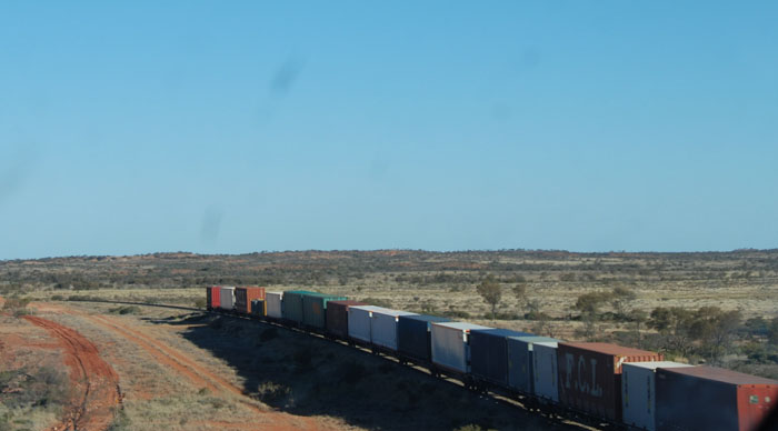 Goods train heading north on the Ghan line.