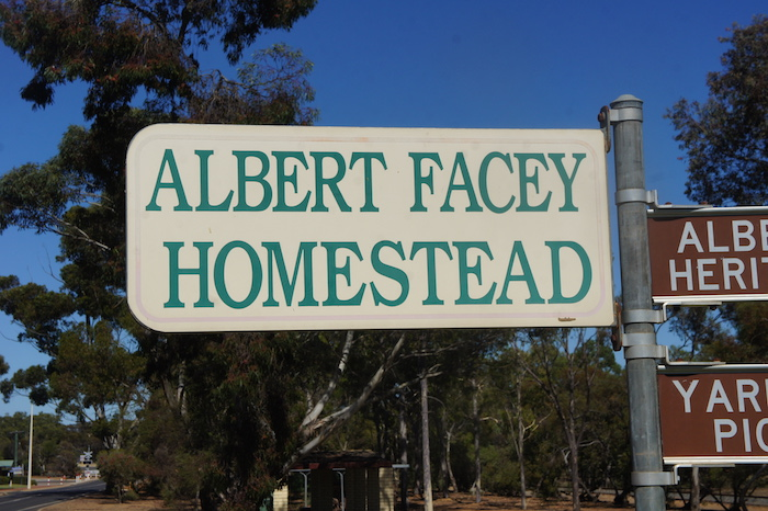 Albert Facey Homestead sign.