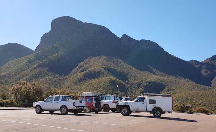 Our vehicles in the Bluff Knoll carpark.
