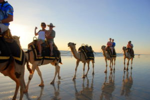 Cable Beach is famous for its camel rides.