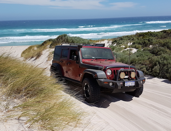 Jeep Wrangler coming up off Callcup Beach.