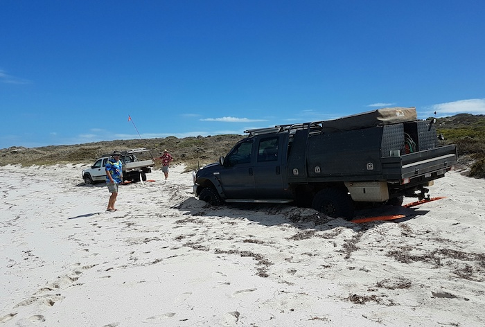 Two vehicles bogged on Horrocks Beach, 50 km north of Geraldton.