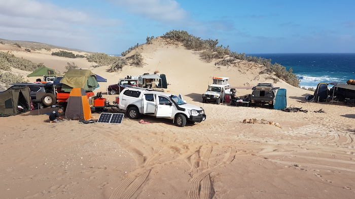 Camping in the dunes back from the beach, Zuytdorp Cliffs, Indian Ocean, 40 km north of the Murchison River on Murchison House Station.