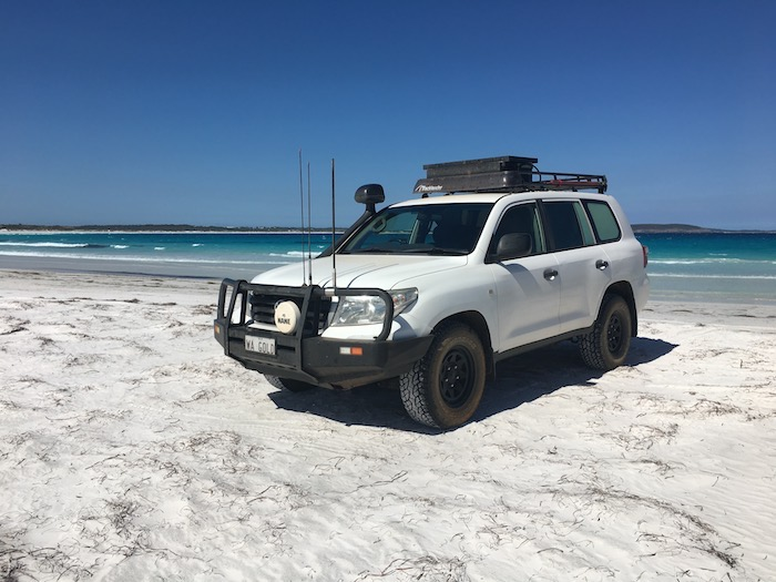 Phil's Landcruiser at Bremer Bay beach.