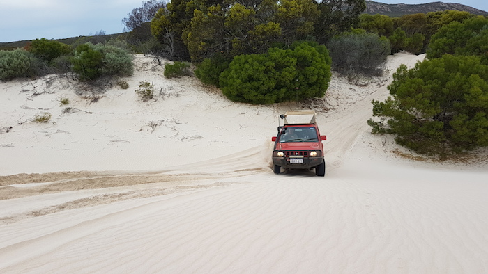 Scott up onto dunes.
