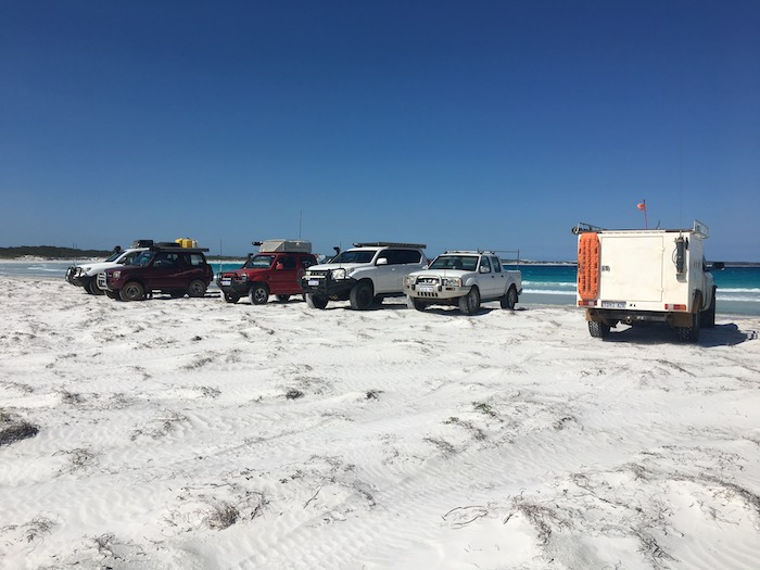 Vehicles at Bremer Bay beach.