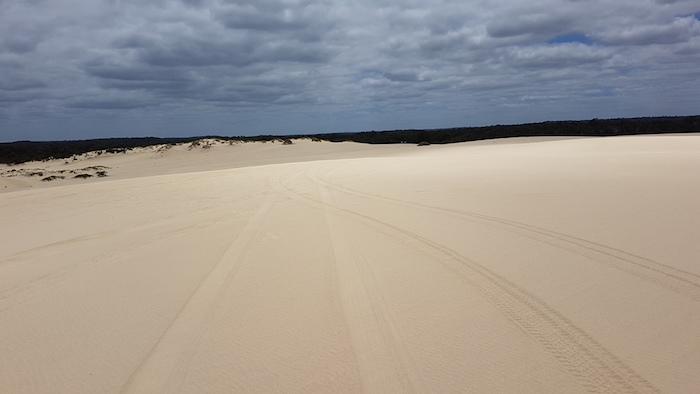 Heading to the beach on Yeagarup Dunes.