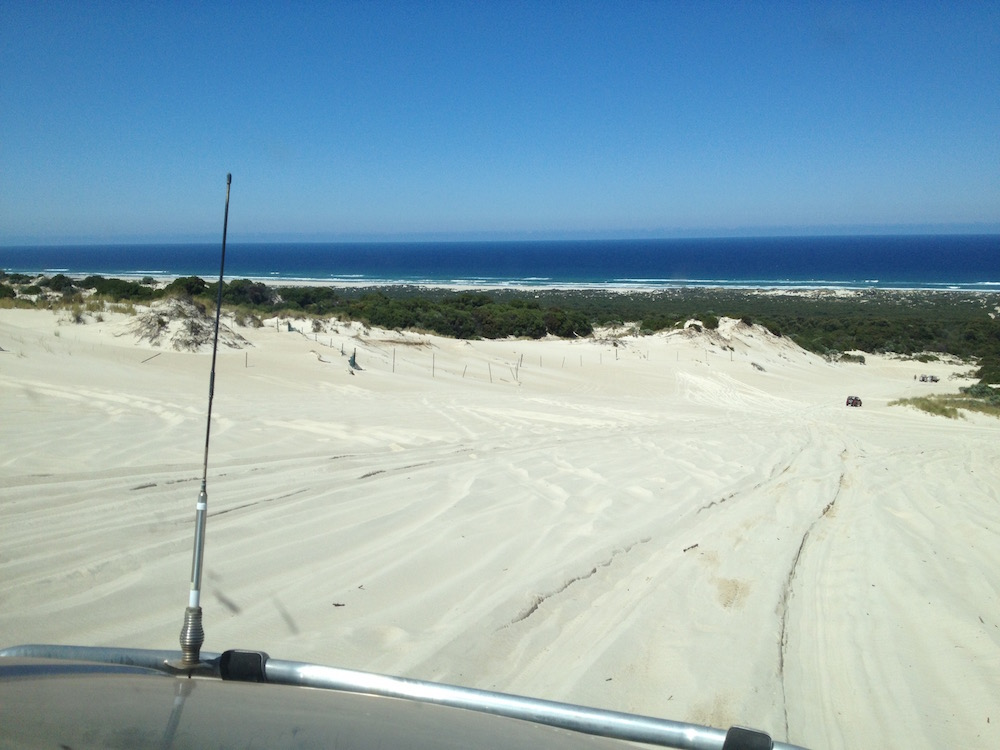 Driving down Yeagarup Hill to get to the beach.