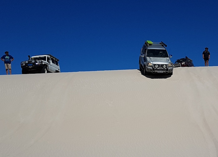 Jeff and Micaela in their Prado descend the dune.