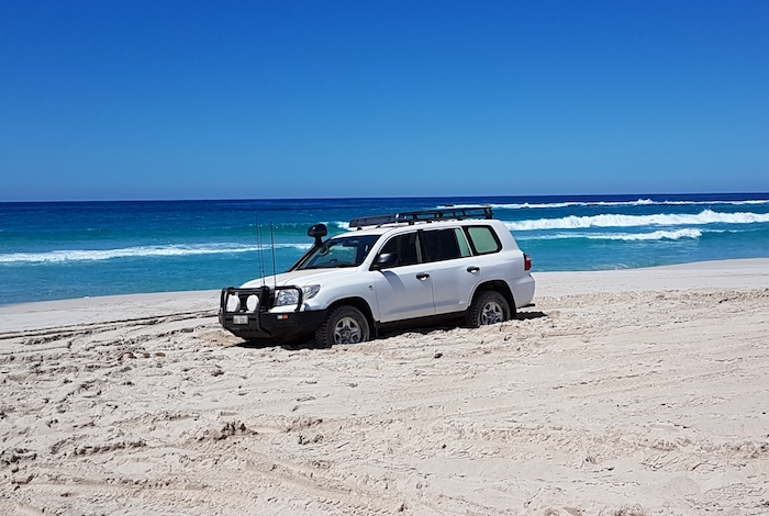 Phil bogged on Reef Beach.