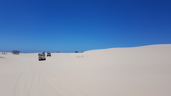 Travelling across the Foster Dunes to get to the Cape Knob track.