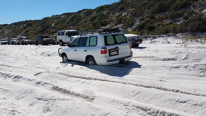 Phil bogged on Bremer Bay Beach.