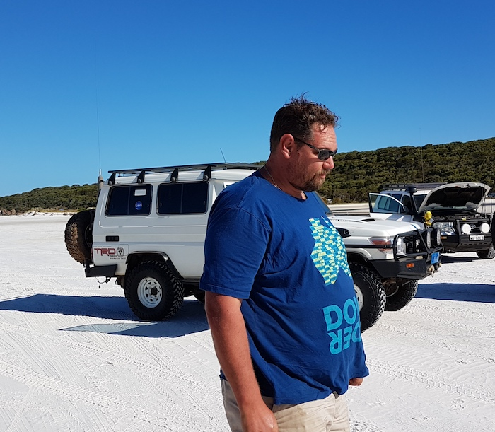 Mushy and his Troopy at Bremer River mouth.