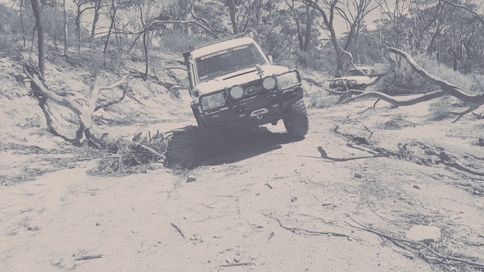 Driving up a creekbed