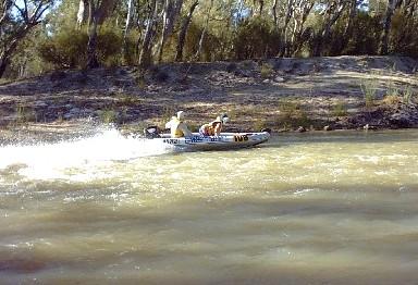 John and Stephen at stony crossing on Mullaroo Creek.