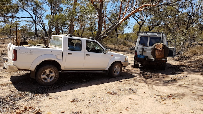 Kerry's Navara and Mushy's Troopy in the creek bed.