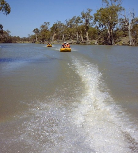 Line astern on the Darling River.