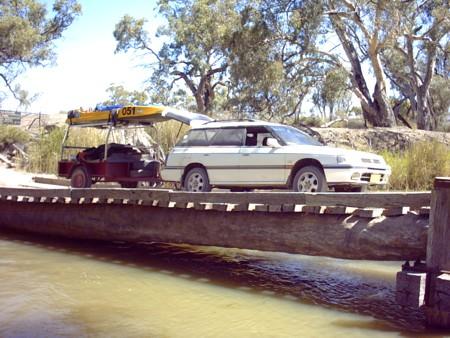 Subaru on bridge over the Mullaroo.