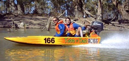 Todd and Ian on the Darling River.
