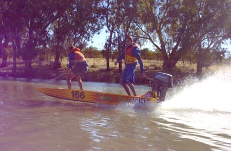 Ian and Todd fooling around on the Darling River.