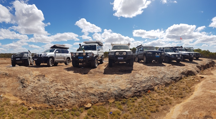 Lineup of vehicles.