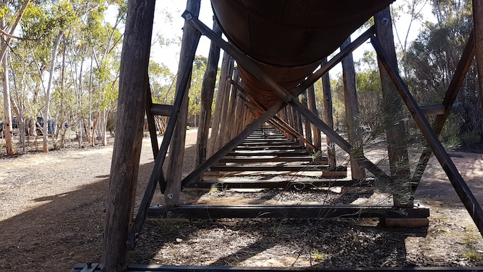 Massive jarrah supports for the Karalee viaduct.