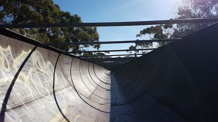 The remarkable flume at Karalee used to carry the diverted water from the Rock to the dam.