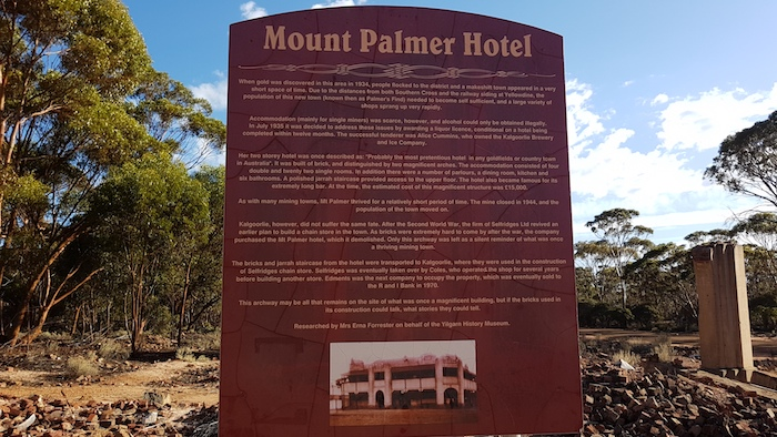 Fantastic information board recording the details of the Mount Palmer Hotel. More information like this is need at all our heritage sites.