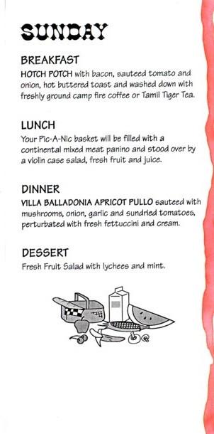 Desert Diner menu.