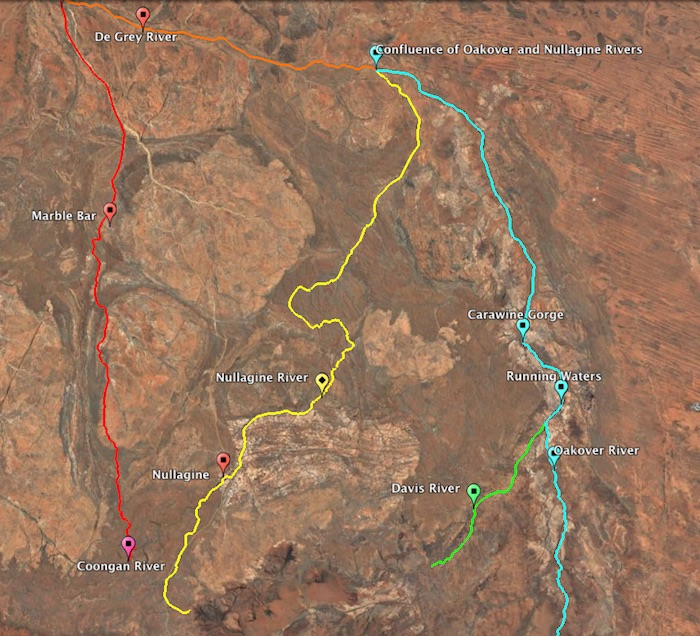 Nullagine River and surrounding rivers.