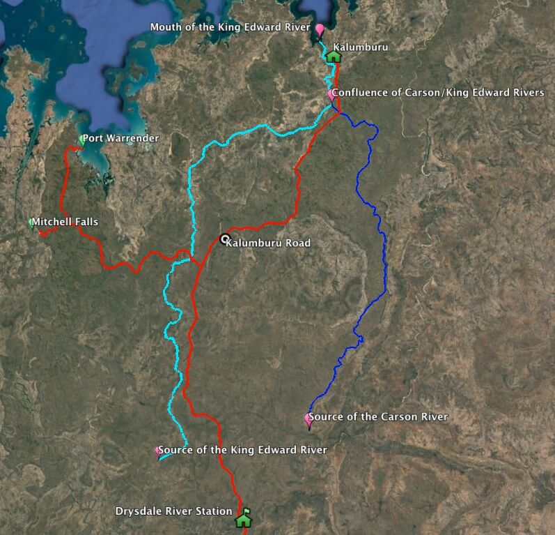 King Edward River and tributary rivers.