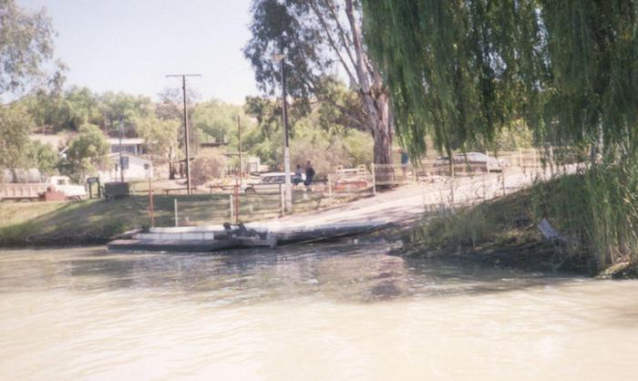 The entry road to the ferry at Waikerie.