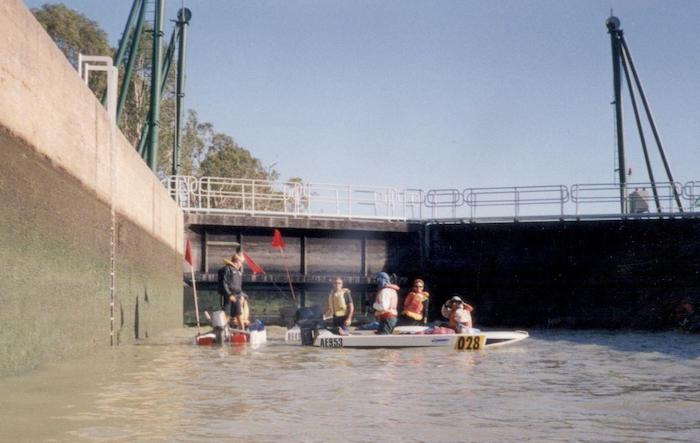 The water is being emptied from inside Waikerie Lock.