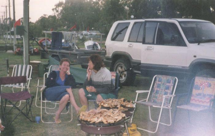 Margot and Kerry relaxing at the caravan park.