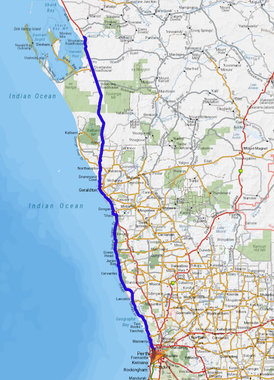 Perth to Wooramel Retreat via Indian Ocean Drive, Brand Highway and North West Coastal Highway.