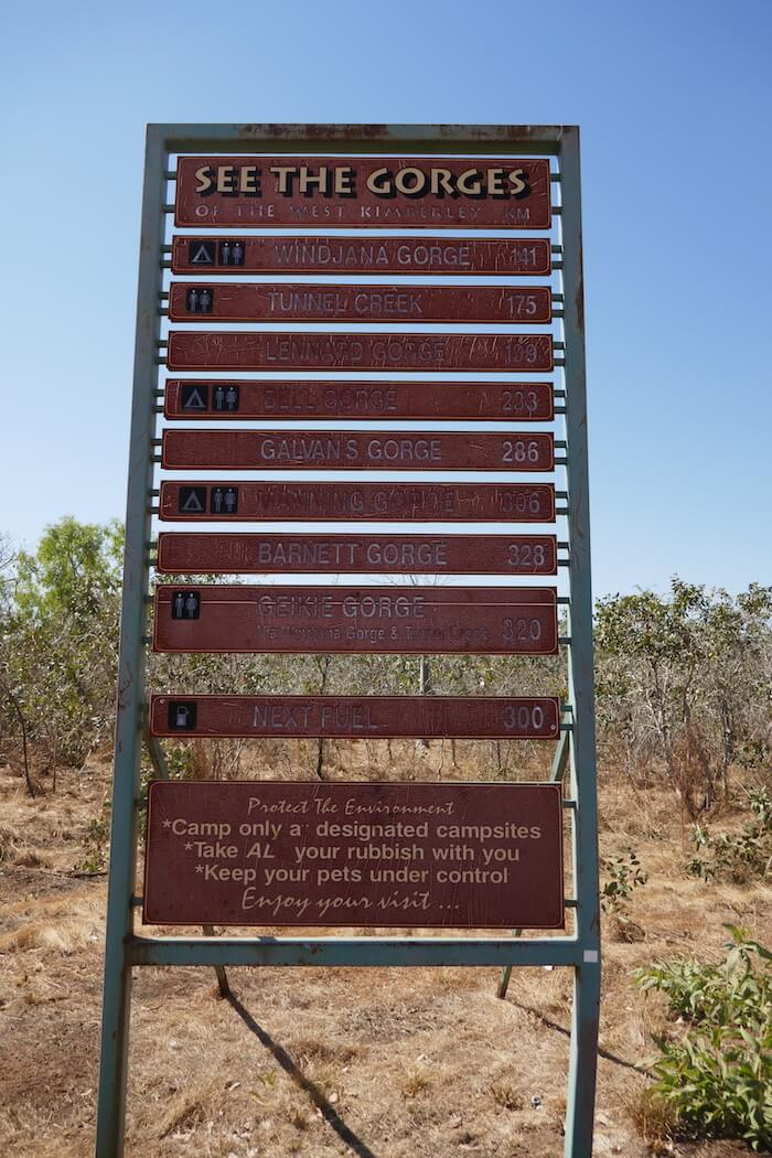 This and many other signs are at the start of the Gibb River Road, Derby.