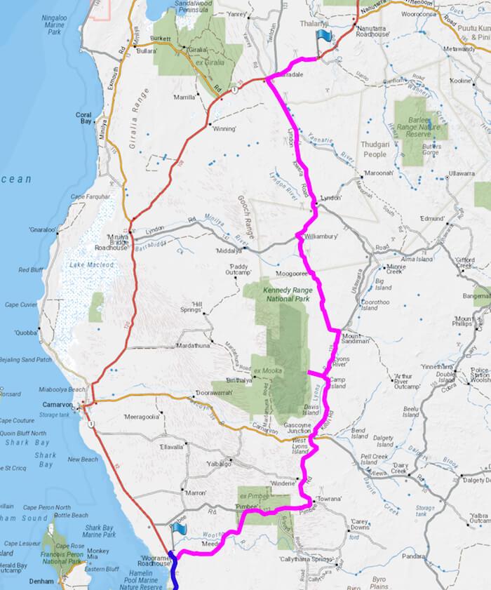 Wooramel to Cave Creek via Gascoyne Junction, Mt Sandiman and Lyndon.