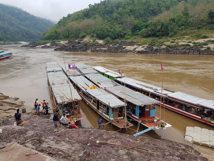 Boarding the Slow Boat for the trip to Luang Prabang.