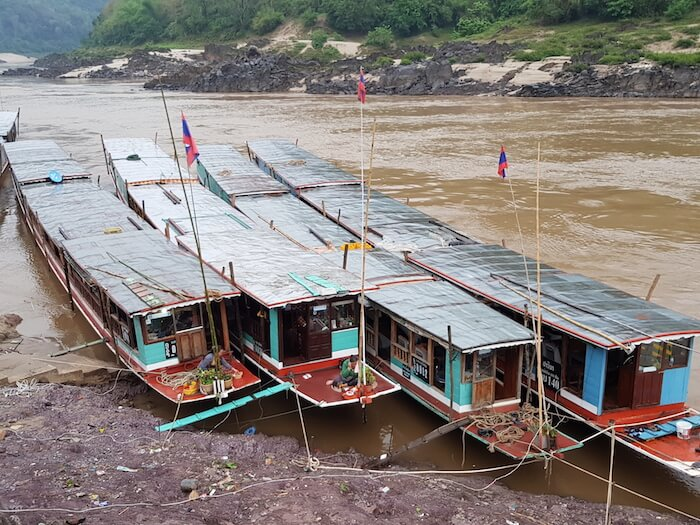 Houseboats berthed at Pak Beng.